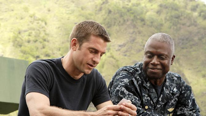 """FILE - This publicity file image released by ABC shows Scott Speedman as Sam Kendal, left, and Andre Braugher as Captain Marcus Chaplin in a scene from the series """"Last Resort,"""" which premiered on ABC on Sept. 27, 2012. ABC canceled two low-rated new TV series, """"Last Resort"""" and """"666 Park Avenue,"""" and didn't announce Friday, Nov. 16, 2012, what will replace the two series after they finish airing. (AP Photo/ABC, Mario Perez, file)"""
