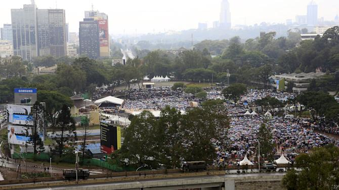 A general view of the Catholic mass led by Pope Francis at the University of Nairobi in Kenya's capital Nairobi