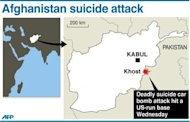 Graphic showing Khost in Afghanistan, where a suicide car bomb attack hit a US-run base, killing at least three people and wounding seven others.
