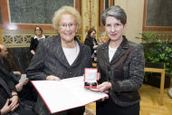In this Aug. 31, 2012 photo provided by the Austrian parliament 95 year-old soprano Hilde Zadek, left, receives the Great Medal of Honor of the Austrian Republic bey the speaker of the parliament Barbara Prammer, right, at the parliament in Vienna, Austria. For Zadek, the city she once despised as part of Hitler&#39;s evil empire has long become a home that she says she would never leave _ and one that is proud to call her own. She has been showered with medals, granted high honorary titles and a singer&#39;s competition named after her 13 years ago has turned into an international launching pad for future opera stars. (AP Photo/Parlamentsdirektion/Bildagentur Zolles KG/Jacqueline Godany)