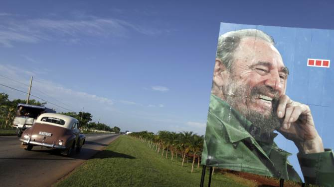 An image of Cuba's former president Fidel Castro is seen on a street in Artemisa province, near Havana
