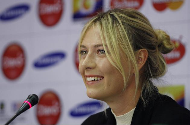 Russian Tennis player Maria Sharapova talks whit reporters during a press conference in Bogota, Colombia, Thursday, Dec. 5, 2013. Sharapova and Ana Ivanovic from Serbia will play on an exhibition game