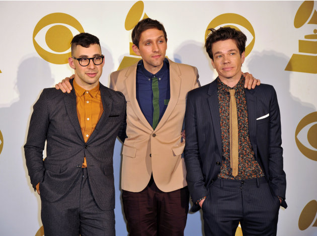The band Fun, from left, Jack Antonoff, Andrew Dost and Nate Ruess pose for a photo backstage at the Grammy Nominations Concert Live! at Bridgestone Arena on Wednesday, Dec. 5, 2012, in Nashville, Ten