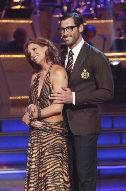 Melissa Gilbert and her Season 14 'Dancing with the Stars' partner Maksim Chmerkovskiy listen to the judges, May 7, 2012 -- ABC