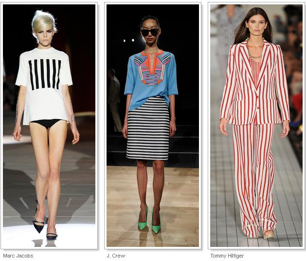 STRIPES, STRIPES, STRIPES Horizontal, vertical, pin-thin 'railroad' or bold bars; all manner of stripes streaked down the runway. In a deconstructivist twist, dresses at Alexander Wang featured 'cutou