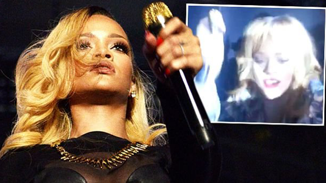 Rihanna Hits Fan with Microphone