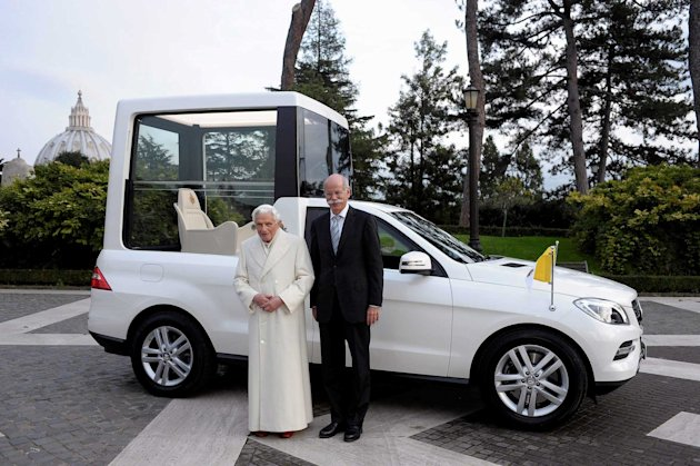 The new Popemobile features a larger dome and bulletproof glass (SWNS)