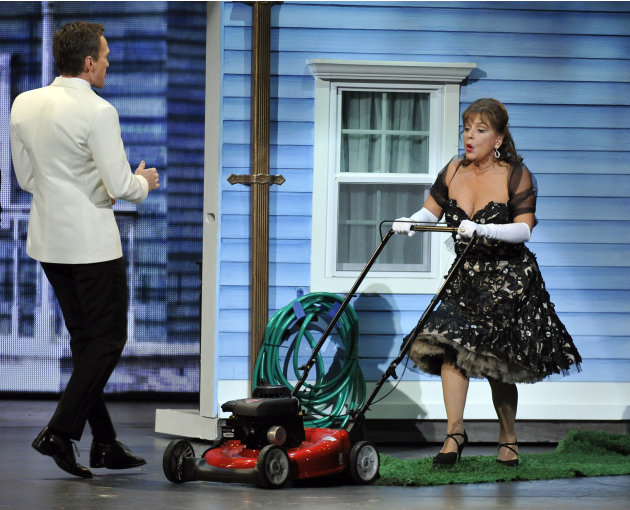 Host Neil Patrick Harris, left, and Patti LuPone perform at the 66th Annual Tony Awards on Sunday June 10, 2012, in New York. (Photo by Charles Sykes /Invision/AP)