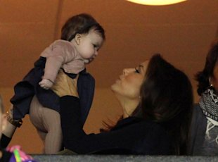 Eva Longoria With Harper Beckham Last November