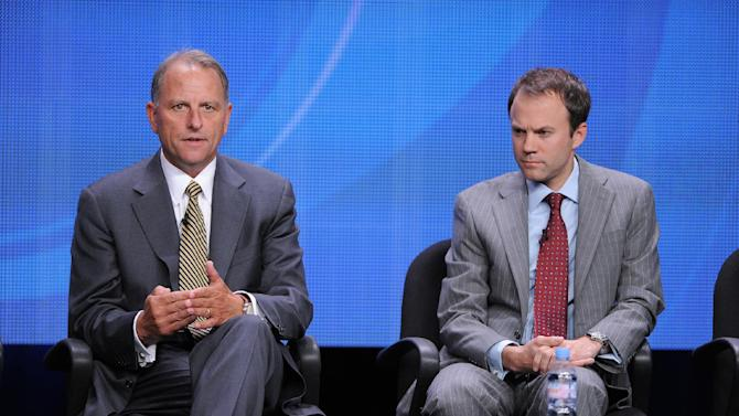 """FILE - In this July 29, 2012 photo, Chairman of CBS News and executive producer of """"60 Minutes"""" Jeff Fager, left, and President of CBS News David Rhodes participate in the CBS News and """"CBS This Morning"""" TCA panel in Beverly Hills, Calif. Fager says he is leaving his role as chairman after four years to go back to his former full-time job as top producer at """"60 Minutes."""" Fager said Thursday, Nov. 20, 2014, that Rhodes, will assume full control over the network's news division. (Photo by Jordan Strauss/Invision/AP, File)"""