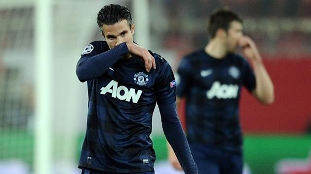 Manchester United's Robin Van Persie reacts after the second goal (Reuters)
