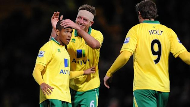 Simeon Jackson celebrates the winner for Norwich against Tottenham Hotspur at Carrow Road