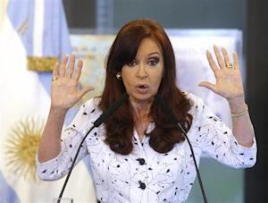Argentine President Cristina Fernandez de Kirchner speaks during a rally at the Government House in Buenos Aires