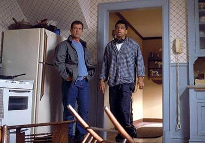 Mel Gibson and M. Night Shyamalan on the set of Touchstone's Signs
