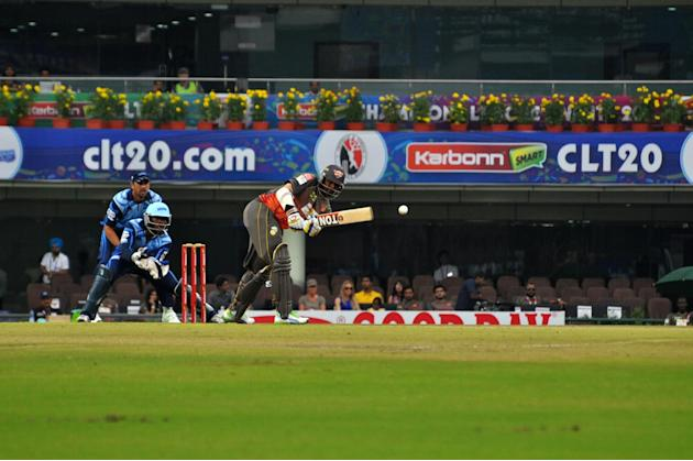 Player of Sunrisers Hyderabad in action during T-20 match against Titans during Karbonn Smart Champions League Twenty-20 Match at Jharkhand State Cricket Association (JSCA) International Cricket Stadi