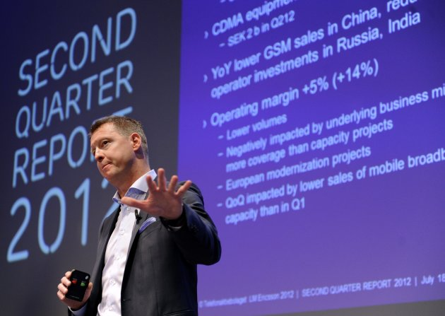 Ericsson CEO Hans Vestberg presents the company&#39;s second-quarter results during a press conference in Stockholm, Sweden, Wednesday, July 18, 2012. Swedish telecommunications equipment maker Ericsson AB saw its second-quarter profits slashed to almost a third as sales of network infrastructure slowed in China and Russia and the company focused on the more stable - but less profitable - business of offering support services to operators. (AP Photo/Scanpix Sweden/Erik Martensson) SWEDEN OUT