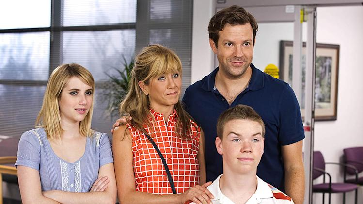 "Emma Roberts, Jennifer Aniston, Jason Sudeikis and Will Poulter in Warner Bros.' ""We're The Millers"" - 2013"