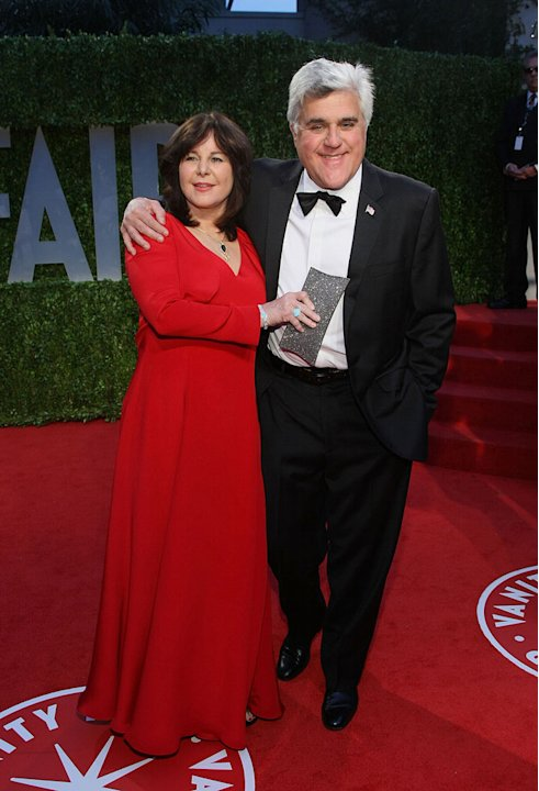 Jay Leno and wife Mavis Nicholson arrive at the 2009 Vanity Fair Oscar Party hosted by Graydon Carter held at the Sunset Tower on February 22, 2009 in West Hollywood, California.
