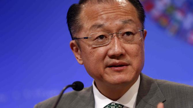 World Bank President Jim Yong Kim speaks at a news conference during the Spring Meetings of the World Bank Group and the International Monetary Fund in Washington, Thursday, April 18, 2013. (AP Photo/Charles Dharapak)
