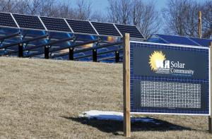 In this Feb. 26, 2015 photo, solar panels that are …