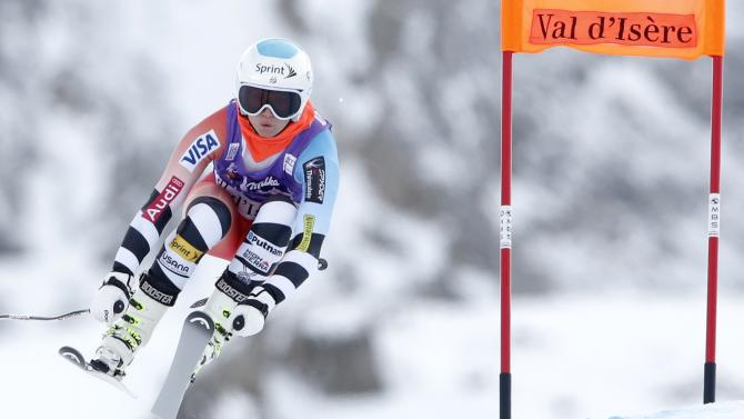 US Mancuso skis during the second training session for the Women's World Cup Downhill skiing race in Val d'Isere
