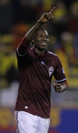 Colorado Rapids' Macoumba Kandji celebrates his goal against the Columbus Crew during the shootout of an MLS Eastern Conference playoff soccer game Saturday, Nov. 6, 2010, in Columbus, Ohio. Colorado defeated Columbus 2-1 (AP Photo/Jay LaPrete)