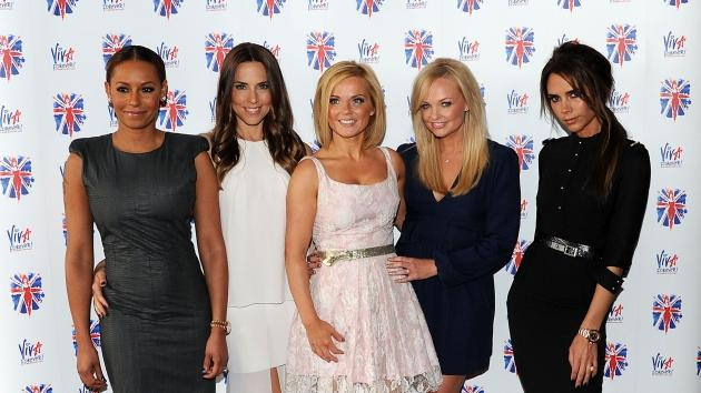 Melanie Brown, Melanie Chisholm, Geri Halliwell, Emma Bunton and Victoria Beckham of the Spice Girls attend launch of new musical based on the Spice Girls' music at St Pancras Renaissance Hotel in London on June 26, 2012  -- Getty Premium