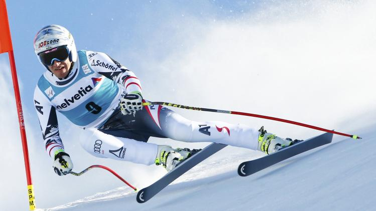 Mayer of Austria skis during the men's downhill event during the FIS Alpine Skiing World Cup finals in the Swiss ski resort of Lenzerheide