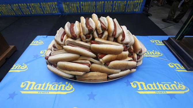 Hot dogs are displayed during the Nathan's Hot Dog Eating Contest official weigh-in