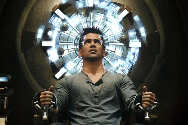 This film image released by Columbia Pictures shows Colin Farrell in a scene from the action thriller &quot;Total Recall.&quot; (AP Photo/Columbia Pictures - Sony, Michael Gibson)