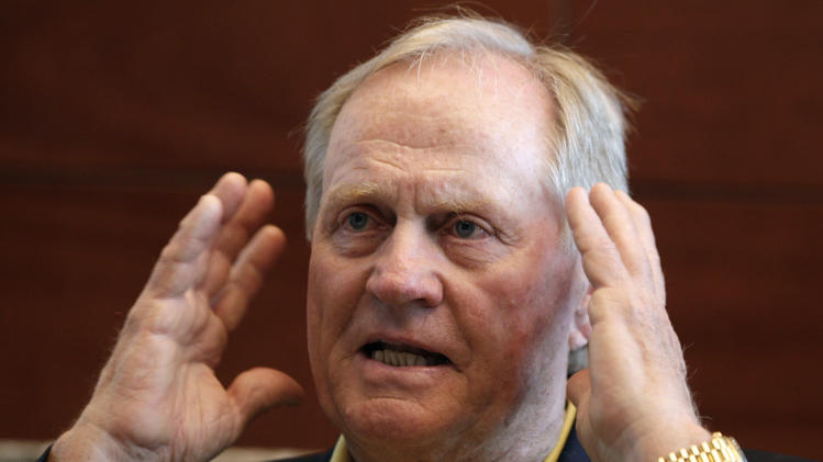 FILE - This Sept. 16, 2011 file photo shows Jack Nicklaus gesturing during an interview at the Jack Nicklaus Golf Club in Incheon, South Korea. Nicklaus recalls when a club pro and a PGA Tour player were not that far apart.  (AP Photo/ Lee Jin-man, File)