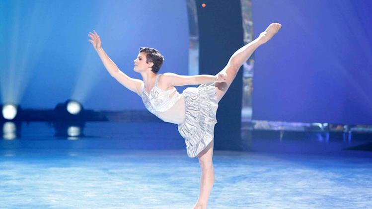 "Contestant Melanie Moore performs a solo routine to ""You're The One That I Want"" on ""So You Think You Can Dance."""