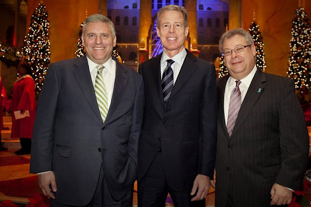 "Phil Kent, Chairman and CEO of Turner Broadcasting Sytem, Inc.; Jeff Bewkes, Chairman and CEO of Time Warner, Inc.; and Steve Koonin, President of Turner Entertainment Networks, attend TNT's ""Christma"