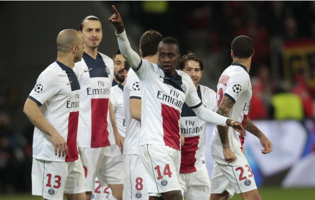 Paris St. Germain's Blaise Matuidi and team mates celebrate a goal against Bayer Leverkusen during their Champions League soccer match in Leverkusen