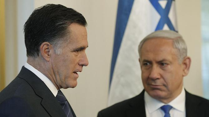 Republican presidential candidate and former Massachusetts Gov. Mitt Romney, left, meets with Israel's Prime Minister Benjamin Netanyahu, in Jerusalem, Sunday, July 29, 2012. (AP Photo/Charles Dharapak)