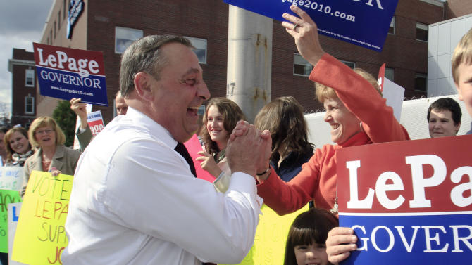 Republican  gubernatorial candidate Paul LePage greets supporters during a healthcare rally in front of Central Maine Medical Center hospital in Lewiston, Maine, on Thursday, October 14, 2010. LePage said he attended the rally  to draw attention to the state's debt to hospitals for payments for Medicaid services. (AP Photo/Pat Wellenbach)