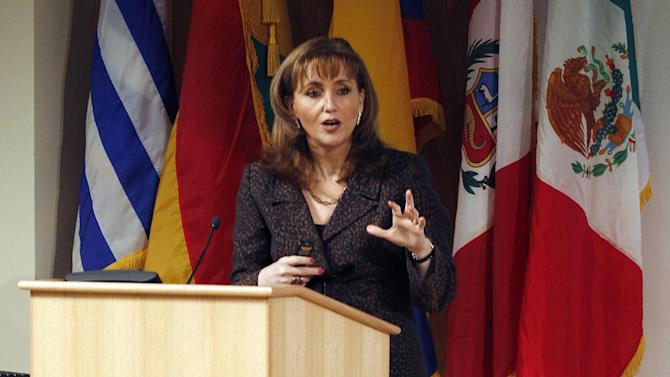 IMAGE DISTRIBUTED FOR MEXICO TOURISM - Gloria Guevara Manzo, Mexico's Secretary of Tourism makes a point during a business symposium about Latin America and the role of Mexico, Wednesday Nov. 14, 2012 at Duke University's Fuqua School of Business, in Durham, N.C. (Bob Leverone /AP Images for Mexico Tourism)