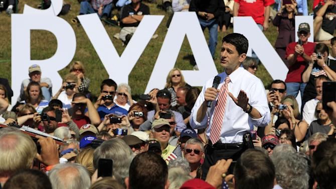 Republican vice presidential candidate, Rep. Paul Ryan, R-Wis. gestures during a rally at Automated Conveyor Systems in Lynchburg, Va., Tuesday, Oct. 16, 2012.  (AP Photo/Steve Helber)