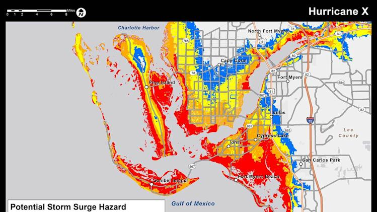 This color-coded graphic made available by the National Hurricane Center on Tuesday, May 21, 2013, shows an example of a map highlighting the greatest risk of storm surge during a storm. The National Hurricane Center will post maps like this on its website starting this hurricane season to alert residents and businesses of areas where storm surge is possible. The hurricane season goes from June 1 to Nov. 30.  (AP Photo/National Hurricane Center)