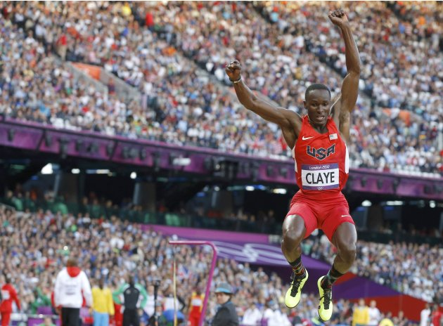 Will Claye of the U.S. competes in men's long jump qualification at London 2012 Olympic Games