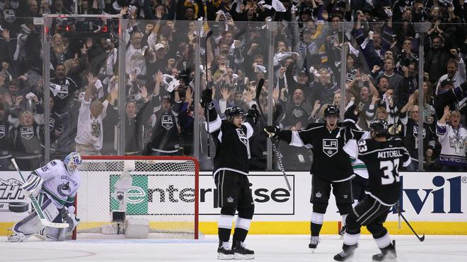 Dustin Brown #23 (L) Of The Los Angeles Kings Celebrates Getty Images