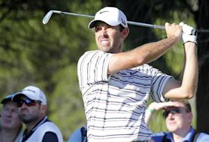 Schwartzel of South Africa tees off on the 14th hole during the second round of the inaugural Turkish Airlines Open in the south west city of Antalya