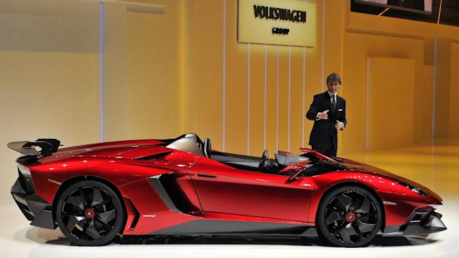 Lamborghini introduces the Aventador J at the Geneva Motor Show.