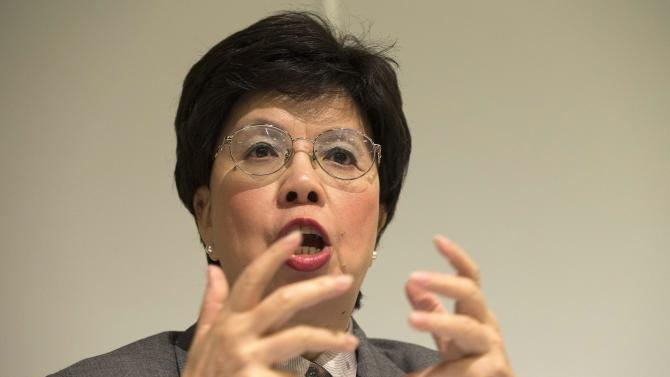 China's Margaret Chan, General Director of the World Health Organization, WHO, informs to media about launching the Atlas Of Health And Climate, during a press conference, at the International Conference Center Geneva (CICG), in Geneva, Switzerland, Monday, Oct. 29, 2012.(AP Photo/Keystone/Salvatore Di Nolfi)