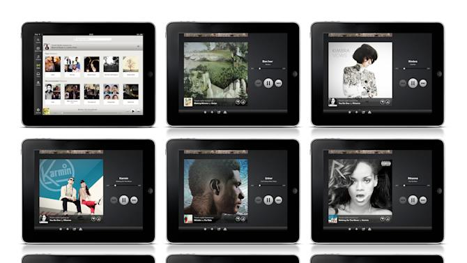 This undated image provided by Spotify shows music artwork displayed on their mobile app. The music-subscription company is joining the ranks of Pandora, Slacker and Songza by offering a free radio service for mobile devices in the U.S. Until June 2012, the company did not enable people to use its mobile app unless they paid $10 per month. (AP Photo/Spotify Radio)