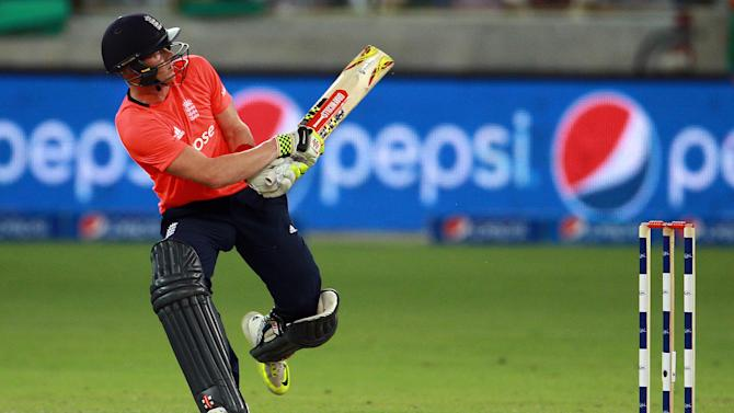 England batsman Sam Billings plays a shot against Pakistan during the Pakistan and England T20 International match at the Dubai International Stadium in Dubai, United Arab Emirates, Thursday Nov. 26, 2015. (AP Photo)