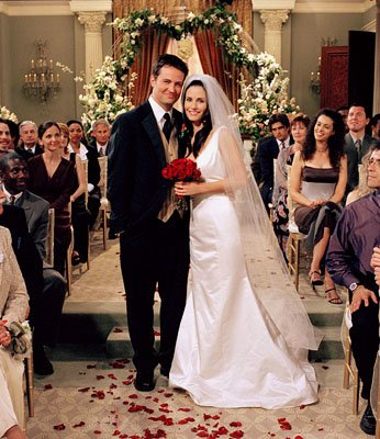 "Matthew Perry and Courteney Cox in ""The One With Monica and Chandler's Wedding"" in NBC's Friends"