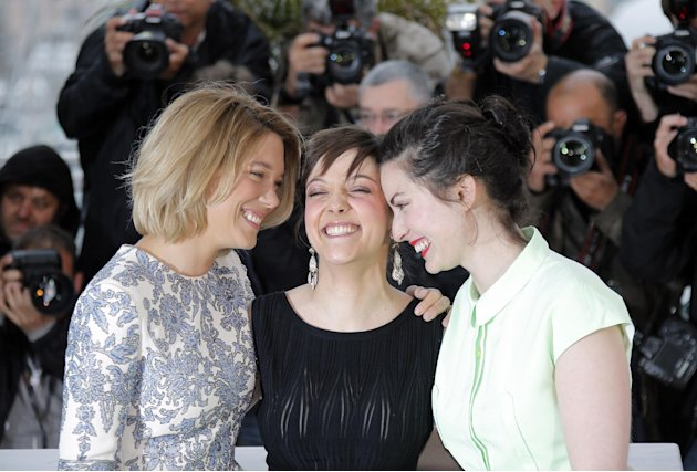 From left, actors Lea Seydoux, Camille Lellouche and director Rebecca Zlotowski pose during a photo call for the film Grand Central at the 66th international film festival, in Cannes, southern France,