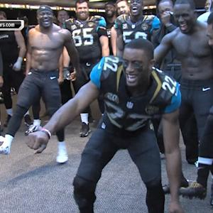 Jaguars dancing in locker room after victory