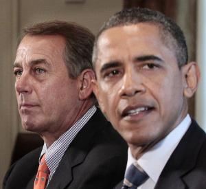 FILE - In this July 7, 2011 file photo, House Speaker John Boehner, of Ohio, listens at left as President Barack Obama speaks during a meeting with Congressional leadership to discuss the debt in the Cabinet Room of the White House in Washington. In the heated talk about deep spending cuts that will dominate Congress in the coming weeks, one thing is likely to be in short supply: details. The reason is simple. Americans embrace the general, abstract idea of reducing federal spending. Their support quickly fades, however, when specific programs are targeted. (AP Photo/Pablo Martinez Monsivais, File)